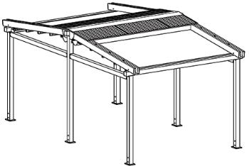 Алюминиевая пергола DUO A3 с тремя секциями